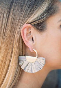 Grey Fan Earrings