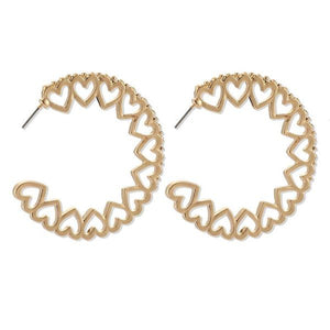 Gold Heart Cutout Hoops