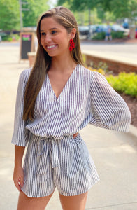 Striped Waist Tie Romper