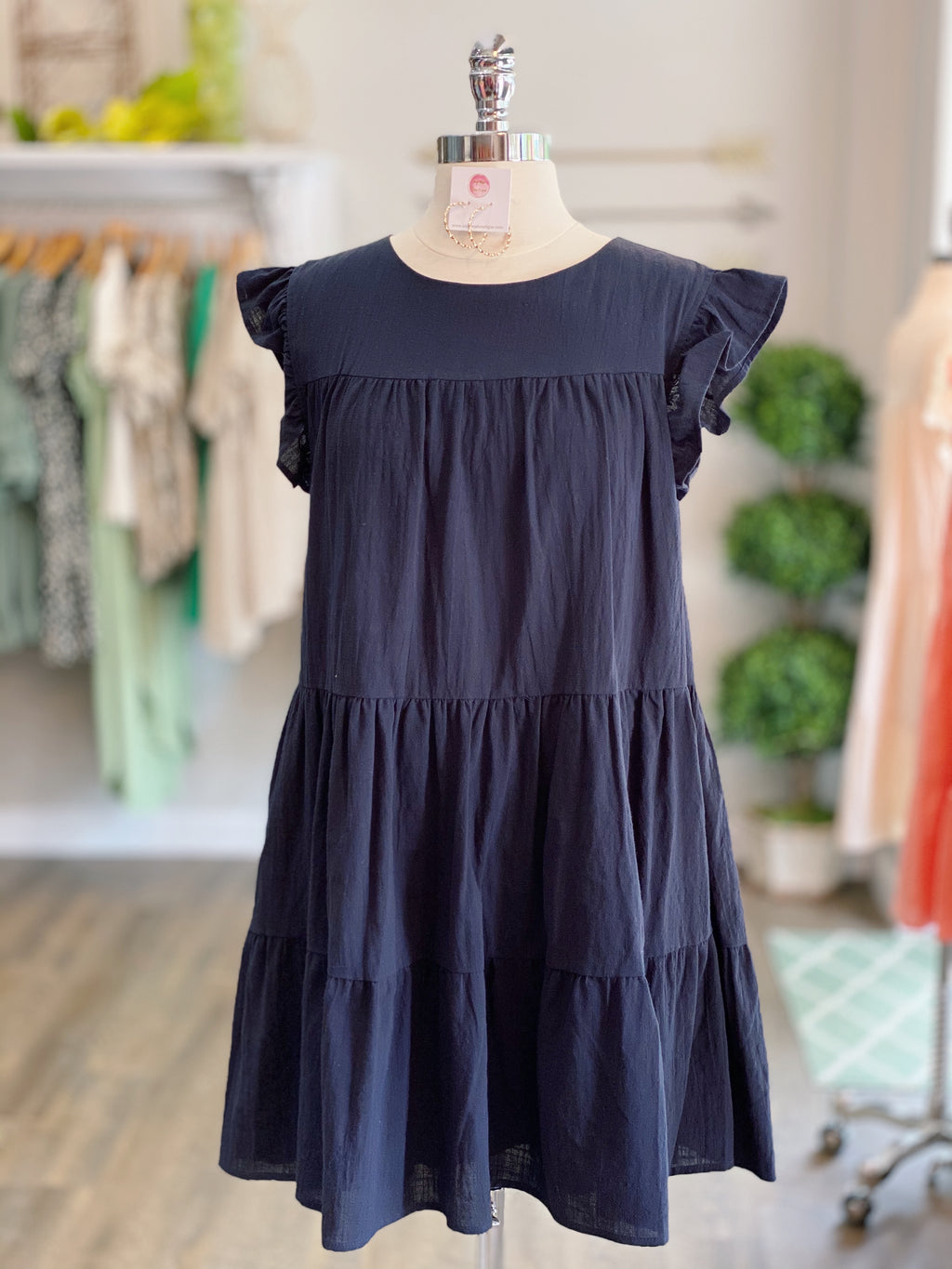 Dark Navy Ruffle Dress