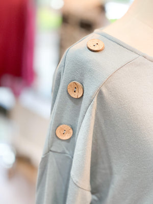 Light Blue Button Detail Top