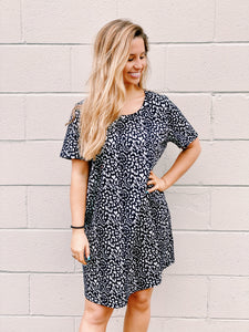Black Leopard Print Dress