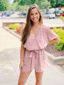 Light Mauve Textured Romper