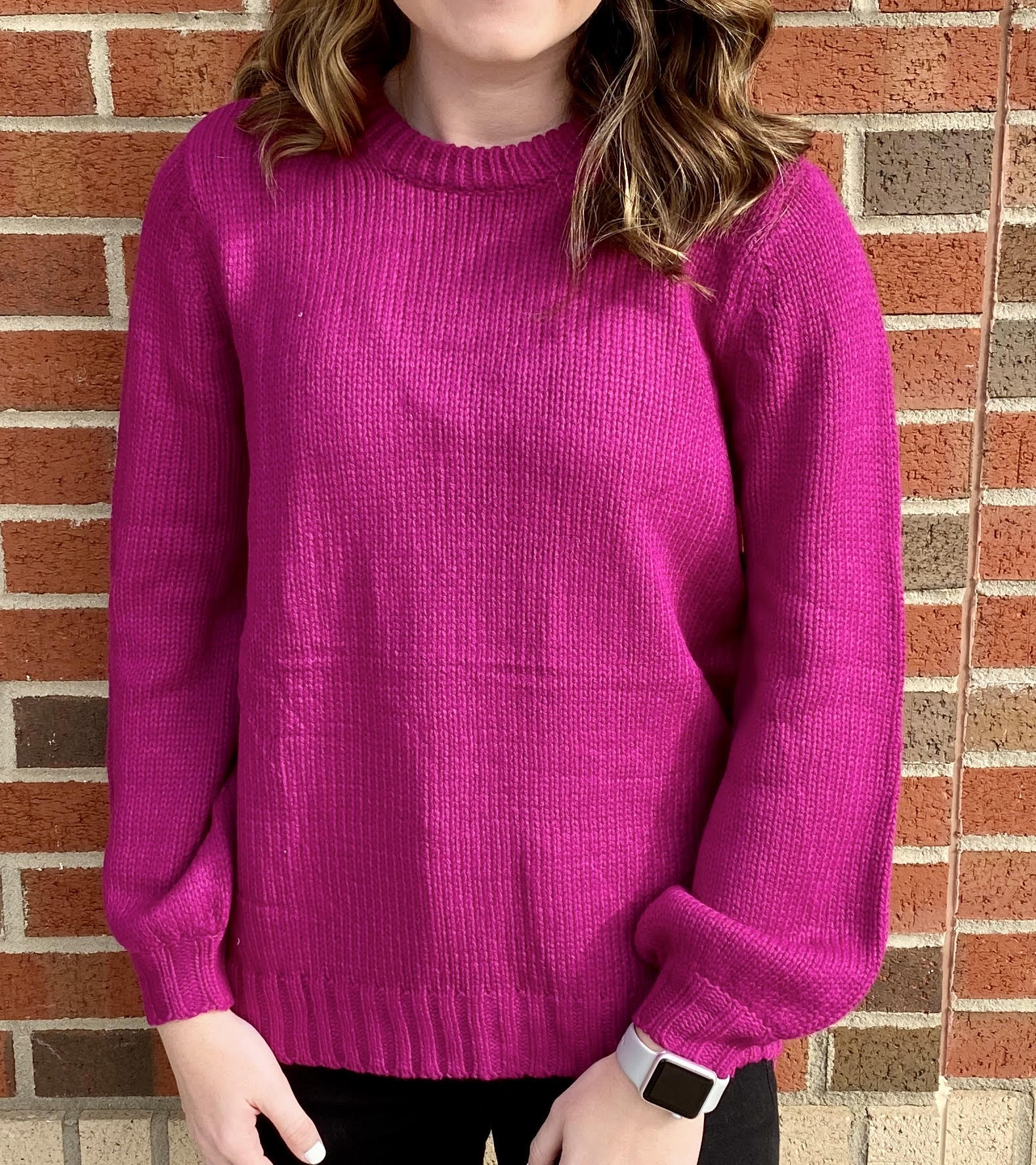 Magenta Bubble Sleeve Sweater