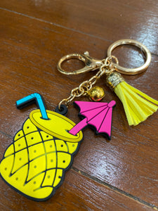 Rubber Pineapple Mojito Keychain