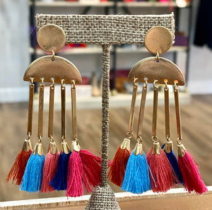 Gold Geometric Tassel Earrings