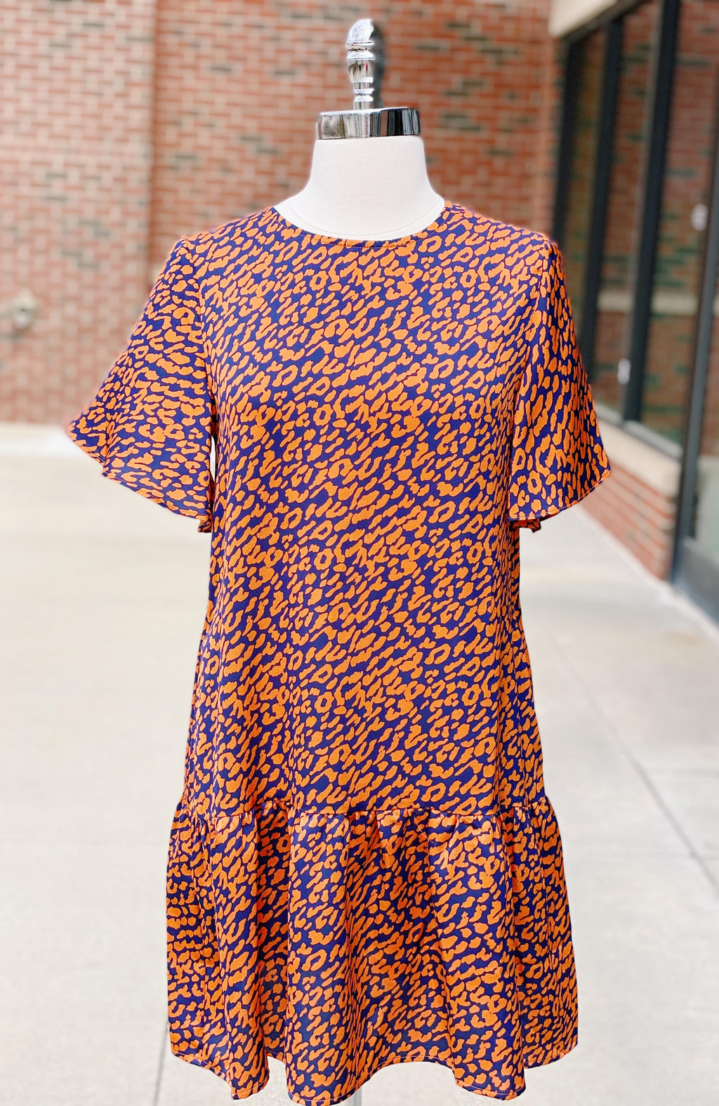Orange Leopard Ruffled Dress