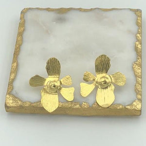 Gold Orchid Stud Earrings