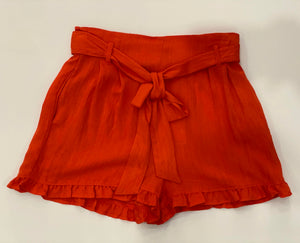 Orange Ruffle Linen Shorts