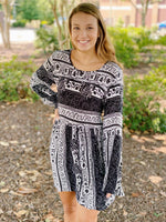 Black & White Paisley Babydoll Dress