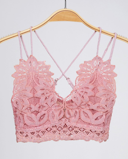 Pink Lace Criss Cross Bralette