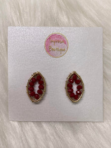 Red Beaded Stud Earrings