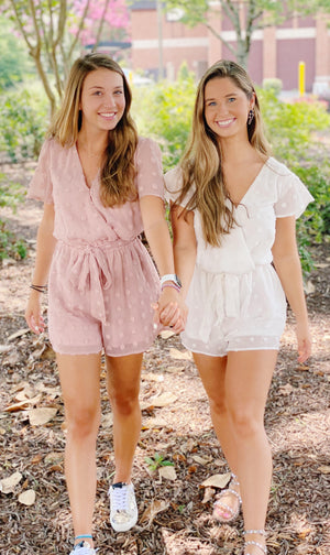 White Textured Romper