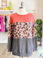 Rust Leopard Print Color Block Top