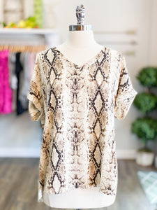 Snakeskin Print V-Neck Top