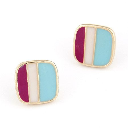 Square Colorblock Stud Earrings