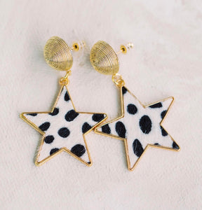 Animal Print Star Drop Earrings