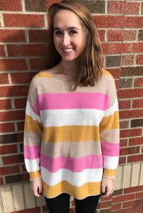 Pink & Yellow Color Block Sweater
