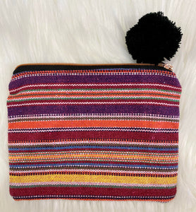 Striped Pom Pom Pouch