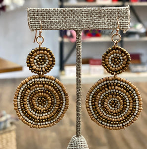 Tan Beaded Disc Earrings