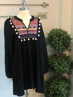 Black Embroidered Tassel Dress