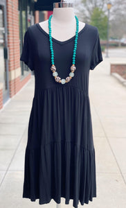 Black Short Sleeve Tiered Dress