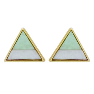 Mint & Marble Triangle Stud Earrings