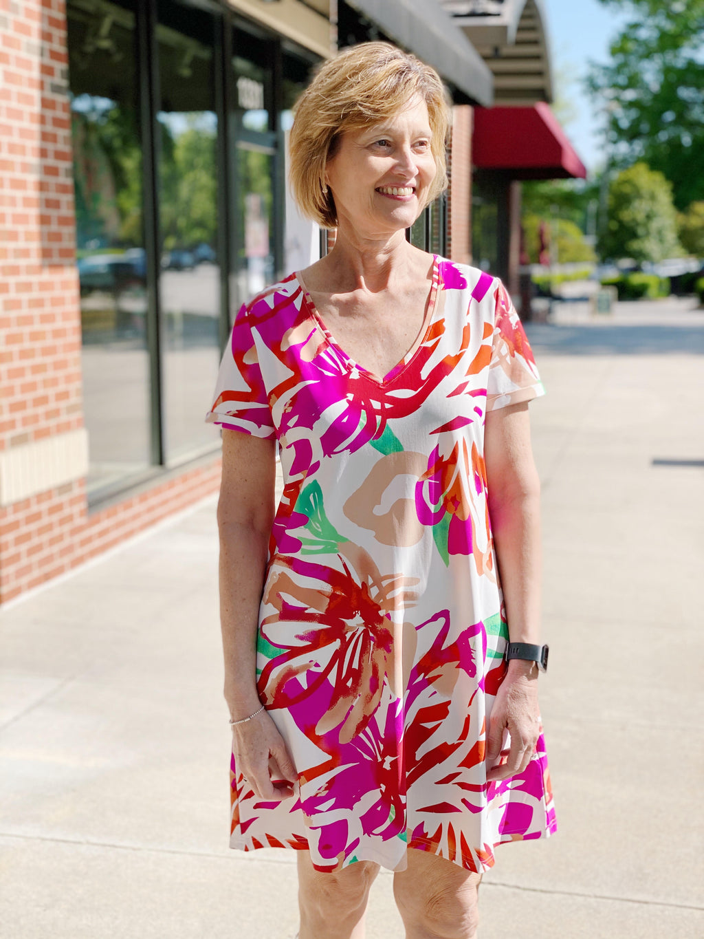 Magenta Tropical Print Dress