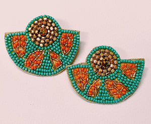 Turquoise Beaded Fan Earrings