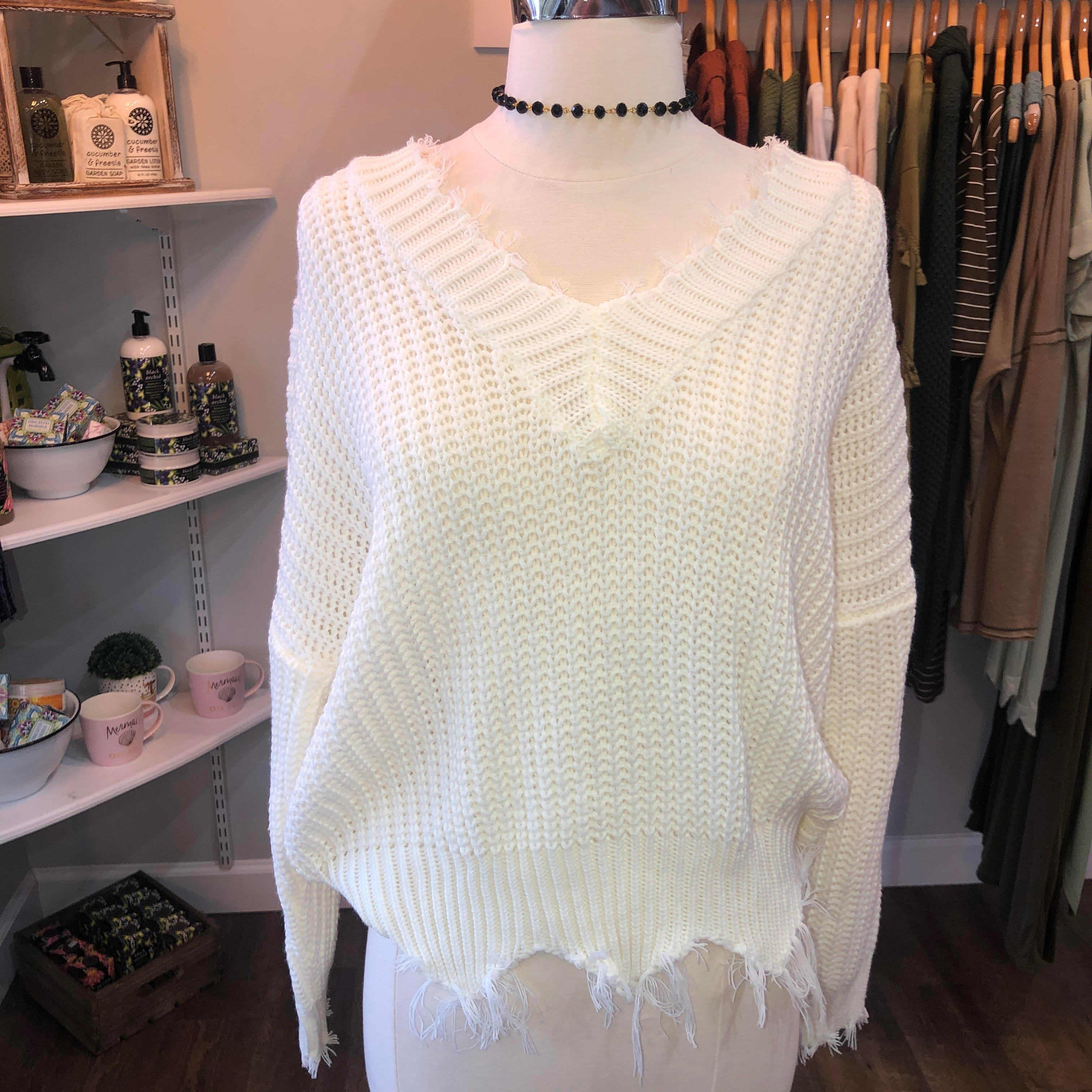 White Frayed Sweater