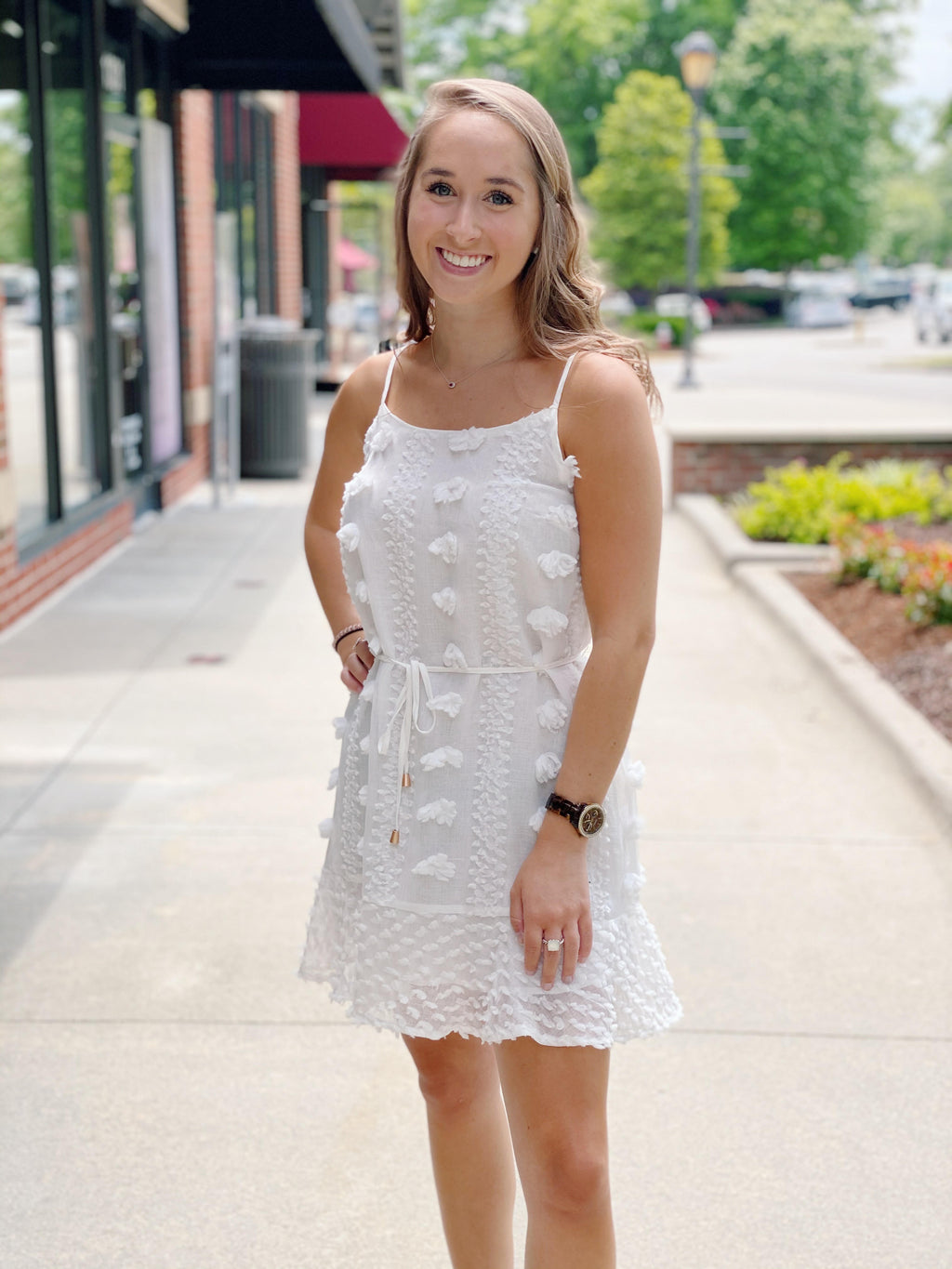 White Textured Dress