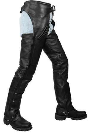 Black Split Cowhide Leather Chaps W/ Mesh Lining - Stofma  Hub
