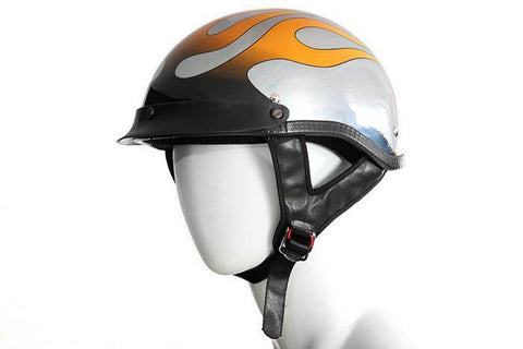 DOT Approved Chrome Motorcycle Helmet W/ Flames Graphic - Stofma  Hub