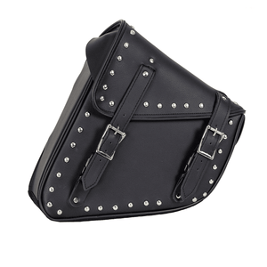 Studded Black PVC Solo Swing Arm Bag - Left Side