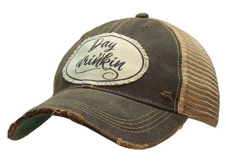 """Day Drinkin' "" Distressed Trucker Cap"