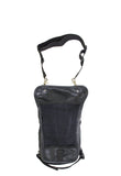 Black Naked Cowhide Leather Multi-pocket Thigh Bags - Stofma  Hub