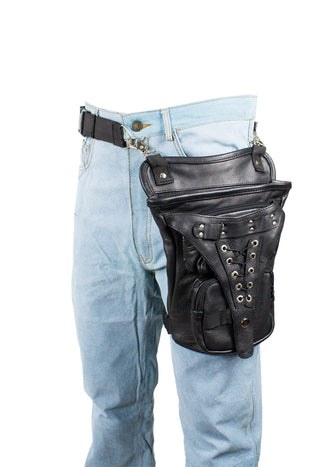 Black Naked Cowhide Leather Multi-Pocket Laced Thigh Bag W/ Extra Layer Of Protection - Stofma  Hub