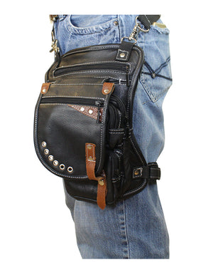 Naked Cowhide Leather Thigh Bag W/ Gun Pocket - Black & Touch Of Brown - Stofma  Hub