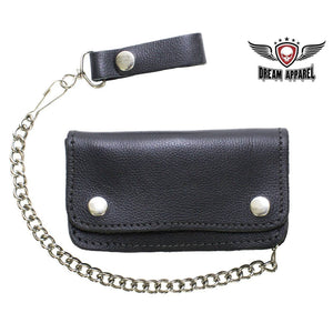Heavy Duty Black Leather Motorcycle Chain Wallet - Stofma  Hub