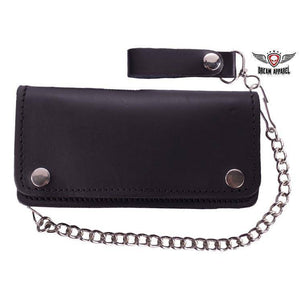 Premium Quality Black Leather Bifold Motorcycle Chain Wallet - Stofma  Hub