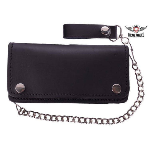 Premium Quality Black Leather Bifold Motorcycle Chain Wallet