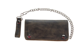 Heavy Duty Distressed Brown Leather Bifold Motorcycle Chain Wallet