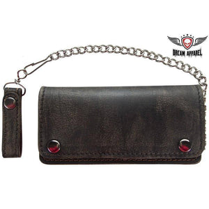 Distressed Brown Leather Bifold Motorcycle Chain Wallet - Stofma  Hub