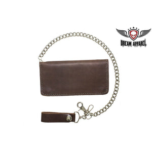 Heavy Duty Dark Brown Leather Chain Wallet - Stofma  Hub