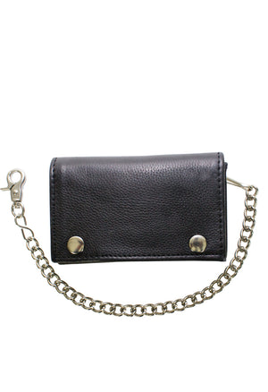 Black Naked Cowhide Leather Trifold Chain Wallet W/ Snaps - Stofma  Hub