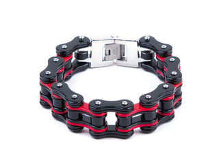 Black & Red Stainless Steel Motorcycle Chain Bracelet - Stofma  Hub