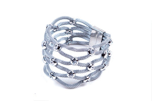 Womens Stainless Steel Mesh Bracelet With Stones & Magnetic Closure - Stofma  Hub