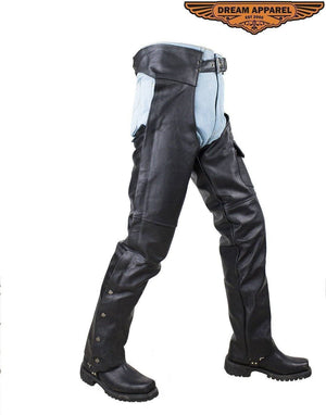 Plain Black Split Leather Chaps - Stofma  Hub