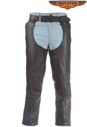 Black Leather Chaps With Orange Straps - Stofma  Hub