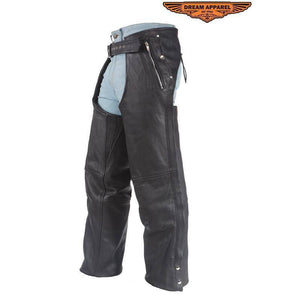Leather Chaps With 3 Pockets & Mesh Lining